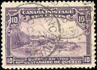 Used Canada 1906 10c VF Scott #101 Quebec Tercentenary Issue Stamp