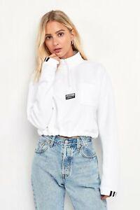 adidas Womens Originals RYV Cropped 1/4 Zip Sweatshirt XS White