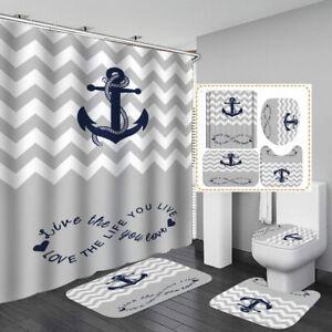 Anchor Print Grey Shower Curtain Bath Mat Toilet Cover Rug Bathroom Decor