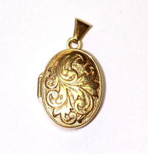 14k yellow gold Fancy Pattern oval Photo locket charm pendant 1.3g estate