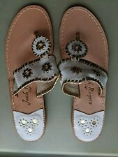 Jack Rogers New Women White and Gold Sandals Size 10