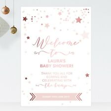 Personalised Baby Shower Welcome Sign Rose Gold Effect and Pink Stars (ST11)