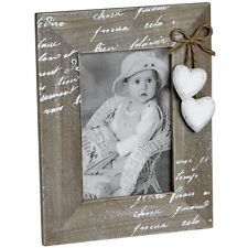 Shabby Chic Rectangular Photo Frame with Hearts