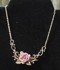 """Vintage 40s Signed CORO PAT PEND Goldtone Chain 14 1/2"""" with Bone China ROSE"""