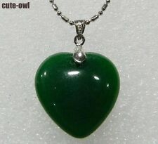 Emerald girl lady Green  Jade Heart-shaped Pendant Necklace 16-17''