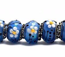 GLRRF Artist Bead Lampwork Rondelle Blue Approx 12mm *UK EBAY SHOP*