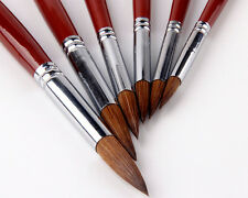 Art Craft 6pcs Red Sable Paint Brushes Watercolor Acrylic Details Painting Brush
