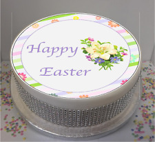 """Novelty Happy Easter Flowers 7.5"""" Edible Icing Cake Topper"""