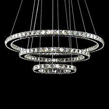 Lampadario a sospensione LED 3 anelli cromato in cristallo luce fredda 6000k