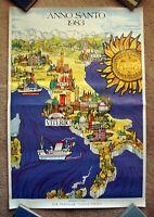 Vintage Original 1983 ITALY Travel Poster airline art alps tourism Europe