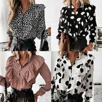 Women Shirt Office V-Neck Button Top Dot Print Ruffle Blouse Shirt Long Sleeve G
