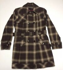 EUC Women's Tommy Hilfiger Wool Blend Brown Plaid Belted Trench Coat Size 8