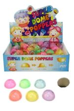 GLITTER DOME POPPER 45MM 6 PCS ASSORTED COLOURS SUPER POP BALL PUSH FLY NOVELTY