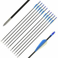 """10x Fibreglass Point Archery Arrows Compound Recurve Black & Blue 26"""" 28"""" 30"""""""