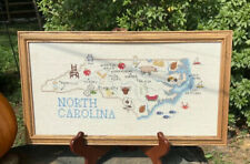 framed completed cross stitch State Of North Carolina