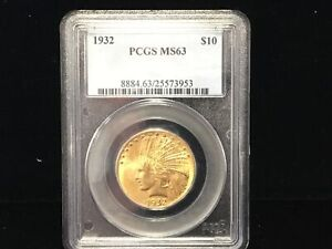 1932 $10 PCGS MS 63 Gold Indian Eagle, Choice Uncirculated Ten Dollar Coin
