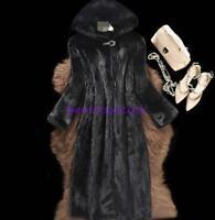 Womens Real Genuine Mink Fur Hooded Mid Long Jacket Warm Coat Overcoat Outwear s