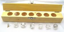 Quartz Crystal Platonic Solids 7 Geometric Set Shapes in Wooden Box