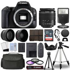 Canon EOS 200D / Rebel SL2 SLR Camera + 3 Lens Kit 18-55mm + 16GB + Flash & More