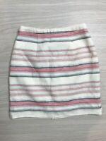 Forever New Women's White Textured Mini Skirt Size 6 Fully Lined Stripes