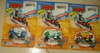 LOTTO 3 VINTAGE TOYS 80 MADE HONG KONG MOTO POWERFUL BIKE CYCLE BLU,VERDE,ROSSO