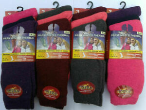 New Comfort Fit Ladies Thermal Socks-Extra Warm & Soft- 3,6,9,12 pairs