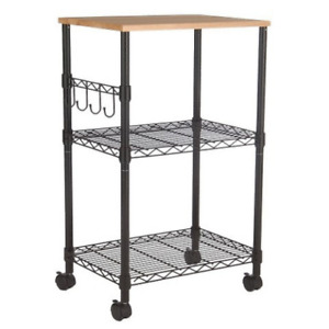 Room Essentials Functional Two Open Shelves Microwave Cart Black New with Box