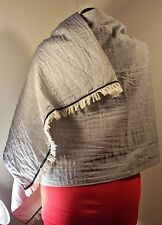 Very large two-sided scarf, blue-gray and cream, velvet trim, unisex style