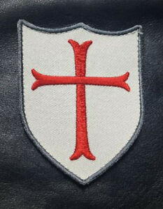CROSS CRUSADER SHIELD EMBROIDERED 3.5 INCH HOOK PATCH