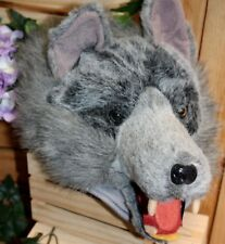 wolf hat cap realistic pretend hair adjusts  to fit anyone scary wonderful!