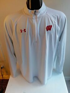 "UNDER ARMOUR HeatGear Loose 1/4 Zip Pullover ""W"" Logo on Chest-SZ XL-Gray/White"