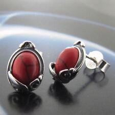 Koralle Silber 925 Ohrringe Damen Schmuck Sterlingsilber S173