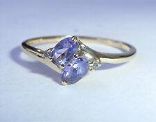 9ct Gold Tanzanite & Diamond Twin Ring, Size R
