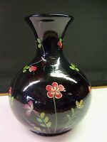 Fenton Hand Painted Ebony Black Glass Vase - Red Flowers - Item 1725
