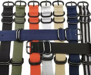 Heavy Duty 5 Ring Divers Nylon Replacement Military Watch Strap Band 18/20/22/24