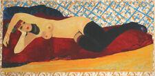 FIUME SALVATORE - ragazza sdraiata - serigrafia su broccato oro 70x150