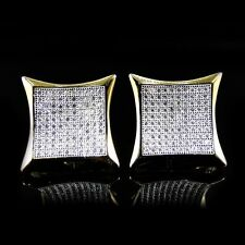 Mens & Ladies 10K Yellow Gold Designer Square Micro Pave Diamond Earrings Studs