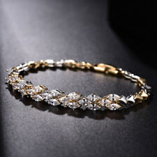 MODOU White Sapphire Wedding Bracelet 18K Multi-Tone Gold Engagement Chain 7.6""