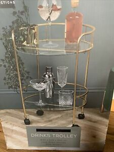 Gold Drinks Trolley With Glass Shelves Mini Bar Cocktail Table Drink Table Gin