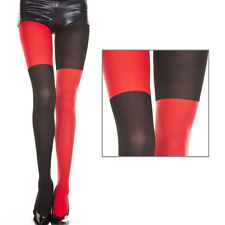 Sheer Black/Red Two Tone Faux Thigh High Full Pantyhose Stockings Costume OS US