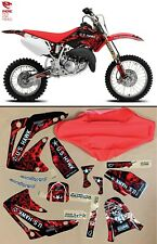 2003-2008 GRAPHICS KIT HONDA CR 85 DECALS MOTOCROSS STICKER CR85 RED SEAT COVER