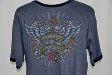 Harley Davidson Mens XL Blue Las Vegas Nevada Live To Ride Rose Flames Wings Tee