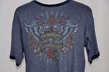 Harley Davidson Mens XL Blue Las Vegas Nevada Live To Ride Rose Flames Wings Tee