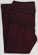 OS LuLaRoe One Size Leggings Elephants Damask Henna Paisely Dark Purple NWT 739