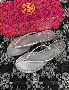 Tory Burch Liana Crystal Thong Sandal Silver Size 7 M Flip Flop Flat Metallic