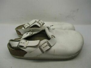 BIRKENSTOCK Slippers Women's Size 7 Casual Ankle Strap White Leather Clogs