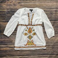 inc international concepts Tunic Top Size 8 Women's Embroidered White Casual