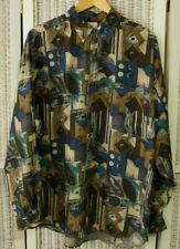 BURTON Vintage 1990s Men's Crzay Print Silk Shirt L 49″ Chest '90s  Disco Club
