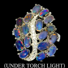 Sterling Silver Ring Genuine White Fire Lustre Opal Cluster Size N 1/2 US 7