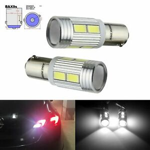 2x Xenon White BAX9s H6W 10 SMD 5630 LED Side Indicator Parking Light DRL Bulbs